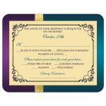Best purple, teal blue and gold foil peacock feather wedding R.S.V.P. cards with ornate scrolls and flourish.
