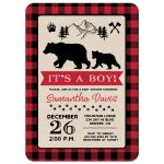 Lumberjack Black Bear Wilderness Buffalo Plaid Baby Shower Invitation