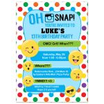 Teenager Boy Emoji Birthday Invitation / Any Age Texting party Invite