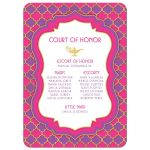 Fuchsia pink, purple and gold quatrefoil pattern Arabian nights magic lamp fairy tale la Quinceañera invitation back