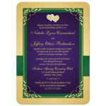 Mardi Gras purple, emerald green, and gold wedding invitation with flowers, ribbon, bow, jewels, glitter, joined hearts, flourishes and scroll accents.