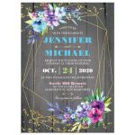 Modern gold geometric wedding ​invitation on rustic grey barn wood with purple, pink, blue, and green watercolor flowers, leaves, foliage and gold dust sprinkles with optional photo template.