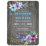 Modern gold geometric wedding invitation on rustic grey barn wood with purple, pink, blue, and green watercolor flowers, leaves, foliage and gold dust sprinkles with optional photo template.