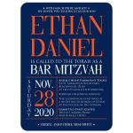 ​Modern navy blue, orange, and white modern typography Bar Mitzvah invitation with a funky zig zag pattern.