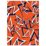 ​Modern navy blue, orange, and white modern typography Bar Mitzvah invite with a funky zig zag pattern.