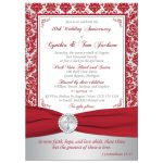 Red and ​silver grey damask pattern 40th wedding anniversary invitation with a red ribbon and crystal buckle brooch with a silver Christian Cross and Bible verse.