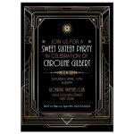 Roaring Twenties Art Deco Gold and Black Sweet Sixteen Party Invitation