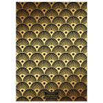 black and gold roaring twenties sweet sixteen birthday party invite with Art Deco patterns of shells, fans, and dots.