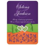 Purple, orange, lime green, and white wedding invitation with flowers, ribbon, bow, jewels, glitter, joined hearts, and scrolls.