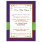 Orange, purple, lime green, and white wedding invites with flowers, ribbon, bow, jewels, glitter, joined hearts, and scrolls.
