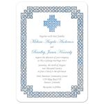 Beautiful sky blue and silver gray celtic knot wedding invitation front
