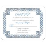 Beautiful sky blue and silver gray celtic knot wedding RSVP card front
