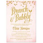 Pink & Gold Brunch & Bubbly Bridal Shower Invitations