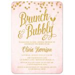 Pink and Gold Brunch and Bubbly Bridal Shower Invitations