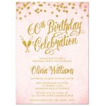 Blush Pink & Gold 60th Birthday Party Invitations by The Spotted Olive