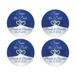 Romantic Royal Blue and Silver Tone Wedding Envelope Seals or Favor Stickers.