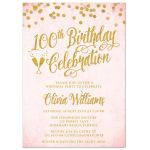 Blush Pink & Gold 100th Birthday Party Invitations by The Spotted Olive