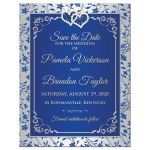 ​Royal blue and silver grey floral wedding save the date magnet with two hearts.