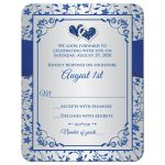 Royal blue, silver grey floral wedding RSVP cards with jewel and glitter double hearts, ribbon, bow and ornate scroll.