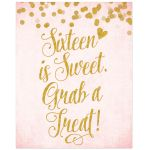 Blush Pink & Gold Sweet 16 Treat Bar Sign by The Spotted Olive