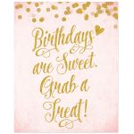 Blush Pink & Gold Birthday Party Treat Bar Sign by The Spotted Olive