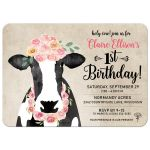 Watercolor Cow Floral Crown Rustic Farm 1st Birthday Invitation