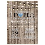 I Do Barbecue BBQ Rustic Wood String Lights Post Wedding Invitation