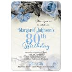 Vintage blue, grey (gray), and ivory rose illustration 80th birthday party invitation front