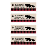 Buffalo Plaid Black Bear Return Address Labels