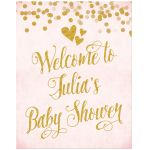 Blush Pink & Gold Baby Shower Welcome Sign by The Spotted Olive