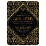 Gold Black Gatsby Sweet 16 Brithday Invitation