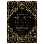 Gold Black Gatsby Sweet 16 Brithday Invitation