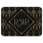 Gatsby RSVP Card | Black Gold Art Deco RSVP Card