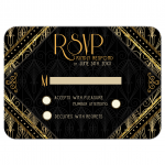 Gold Black Art Deco RSVP Card