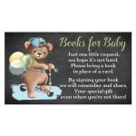 ​Cute chalkboard baby shower Books for Baby enclosure card insert with brown bear wearing a denim ball cap while riding a scooter with blue, green, and yellow balloons.