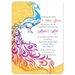 Bold, colorful painted peacock Indian wedding engagement party invitation front