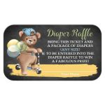 Cute chalkboard baby shower diaper raffle response card with brown bear wearing a denim ball cap while riding a scooter with blue, green, and yellow balloons.