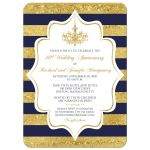 ​Navy Blue, white, and gold foil striped 40th wedding anniversary invitation with formal gold chandelier.