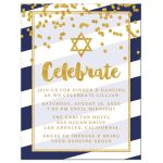 Navy Stripes & Gold Confetti Bat Mitzvah Reception Cards