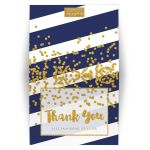 Navy Stripes & Gold Confetti Personalized Thank You Cards by The Spotted Olive