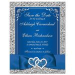 Best royal blue and silver grey wedding save the date magnet with ribbon, bow, glitter, jewels, joined hearts and scrolls.
