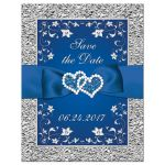 ​Best royal blue and silver grey floral wedding save the date card with ribbon, bow, glitter, jewels, joined hearts and scrolls.