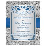 Best royal blue and silver gray floral wedding save the date cards with ribbon, bow, glitter, jewels, joined hearts and scrolls.