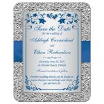 ​Best royal blue and silver gray floral wedding save the date cards with ribbon, bow, glitter, jewels, joined hearts and scrolls.