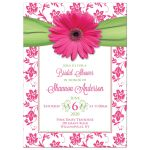 Pink, green daisy floral recipe kitchen bridal shower invitation front