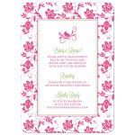 Pink, green daisy floral recipe kitchen bridal shower invitation back