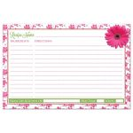 ​Pink, green daisy floral kitchen bridal shower recipe card back