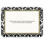 Special event, ceremony, banquet, wedding postponement or cancellation cards in black white and gold damask pattern with scroll.