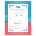 Best turquoise or teal blue, Malibu blue, white, and coral floral wedding response enclosure card with joined jewel and glitter double hearts brooch, ribbon, bow, and ornate scroll.