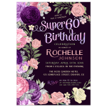 Pink Purple Roses Super 60th Birthday Party Invitation